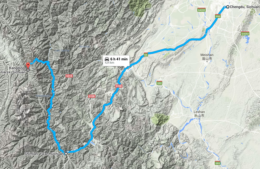 Kangding Hiking Transfer Map