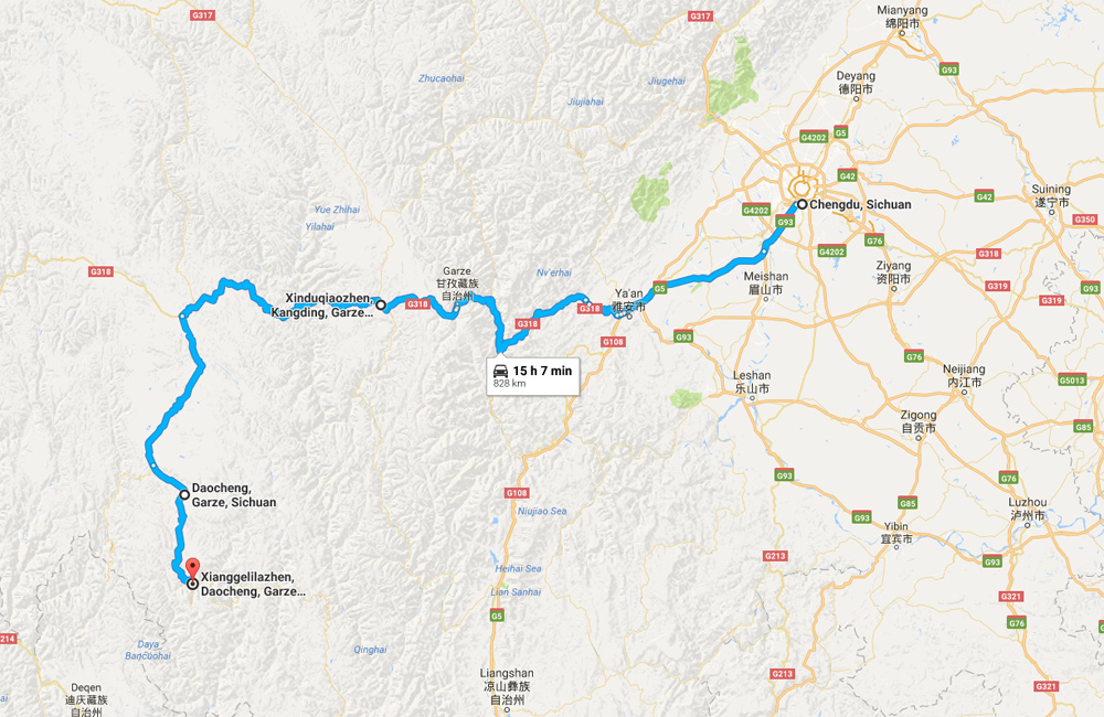 to Daocheng Yading Driving Map