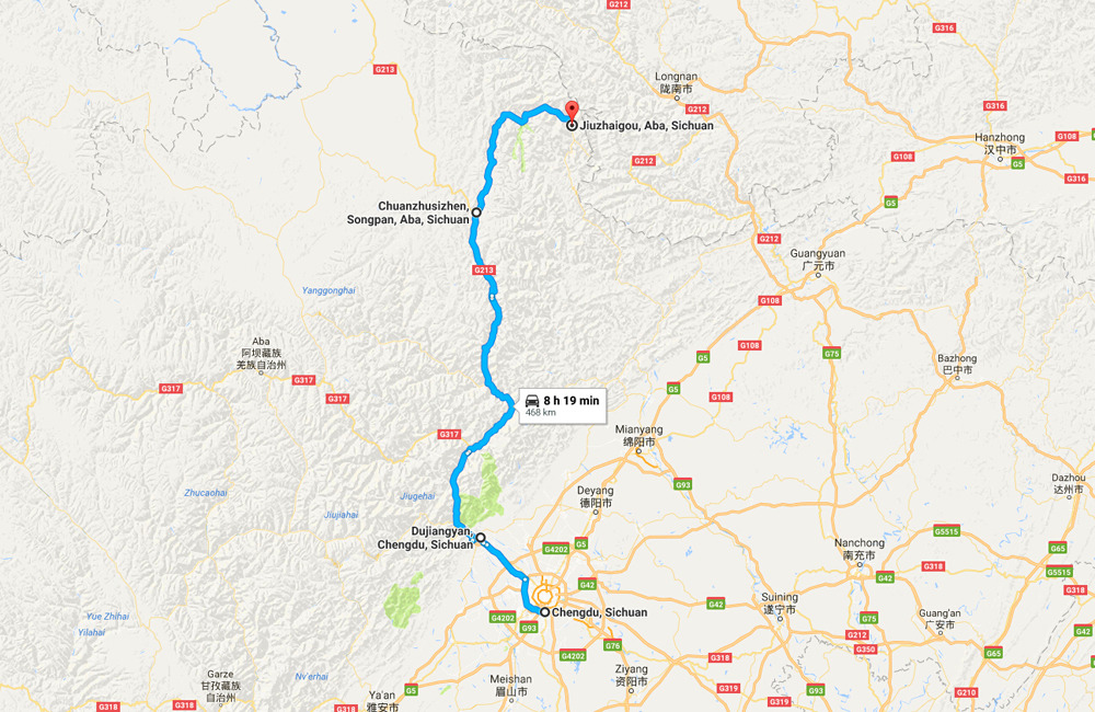 Chengdu Jiuzhaigou Tour Map