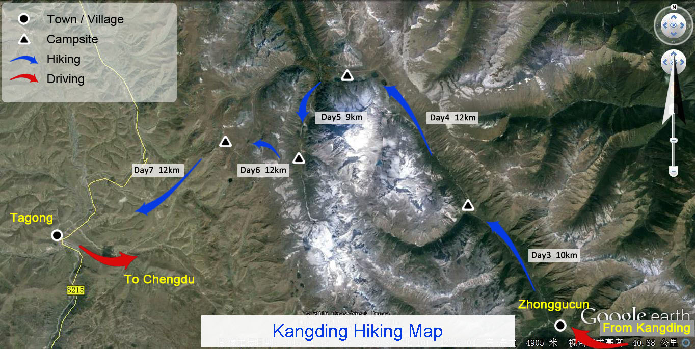 Kangding Hiking Map