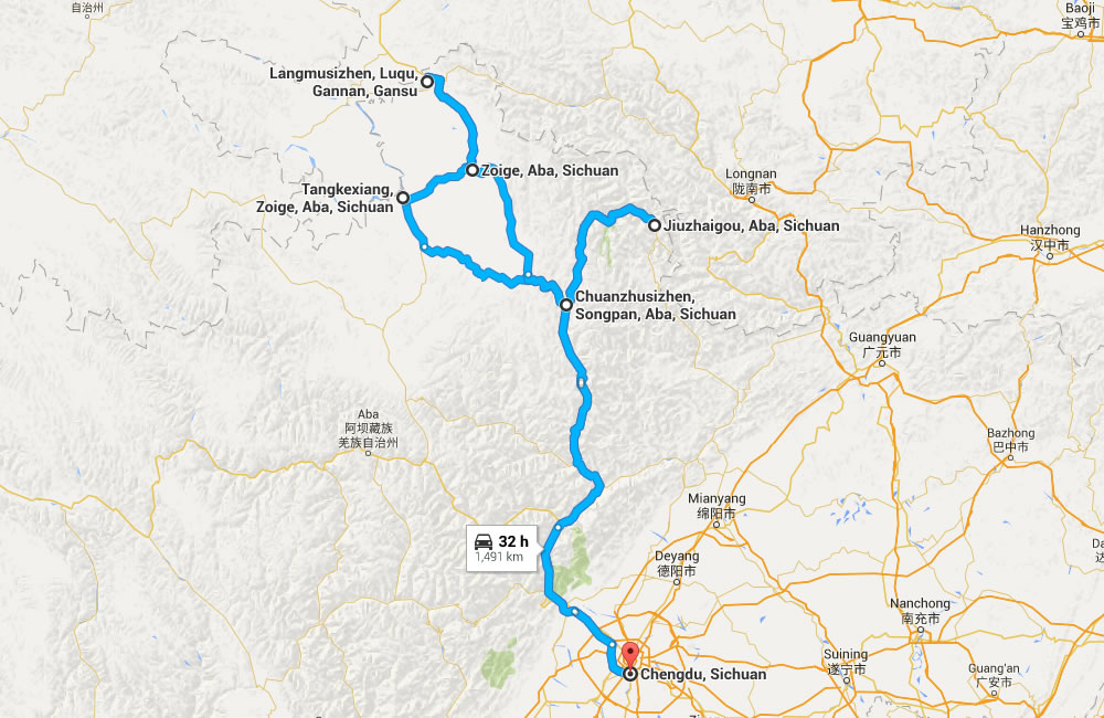 Northern Sichuan Adventure Transfer Map