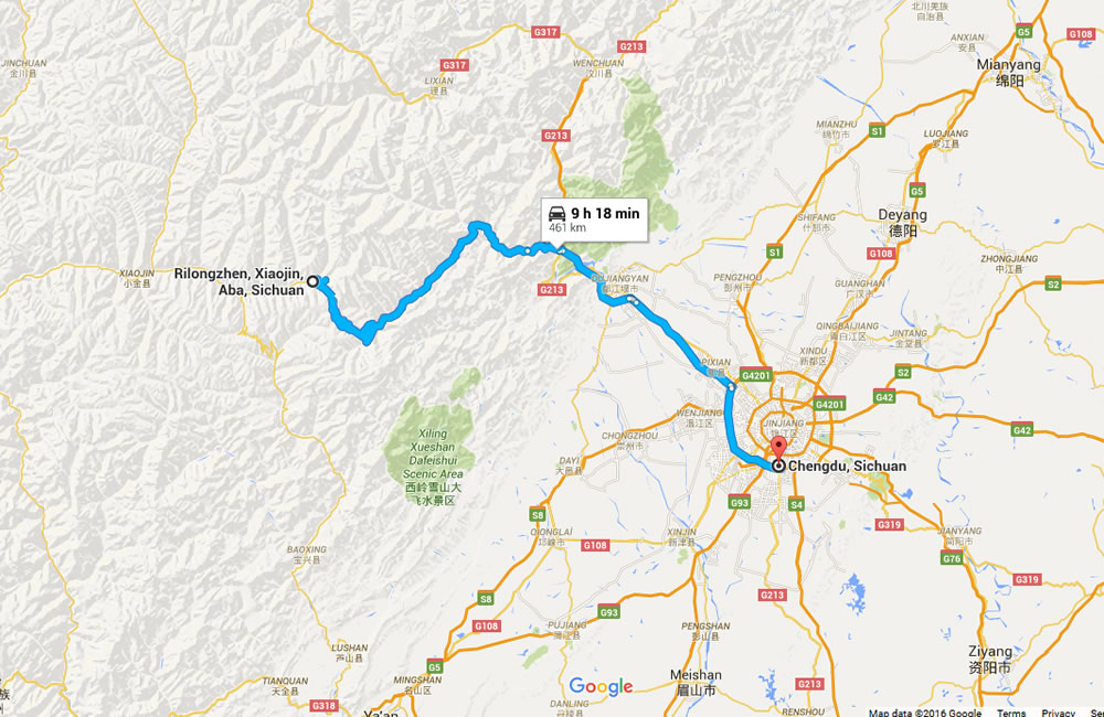 Chengdu to Mount Siguniang Travel Map