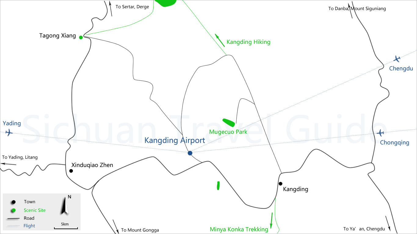 Kangding Airport Transfer Map